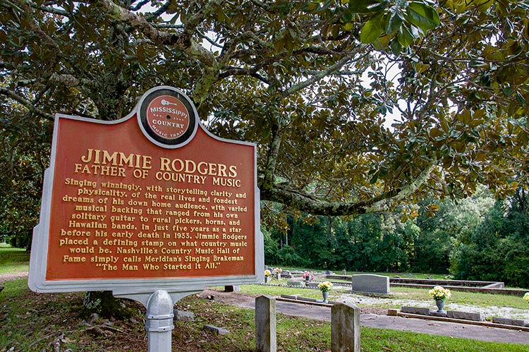 Jimmie Rodgers, marker and grave, Meridian