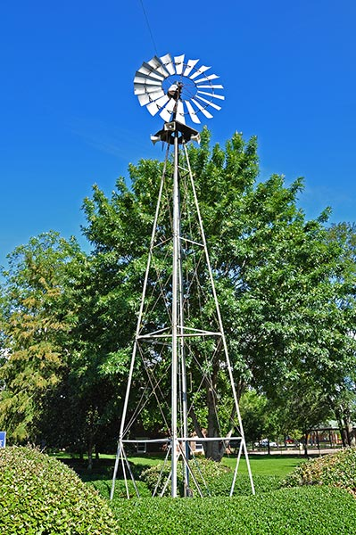 Windmill at the Howlin' Wolf memorial in the city park, West Point, Ms