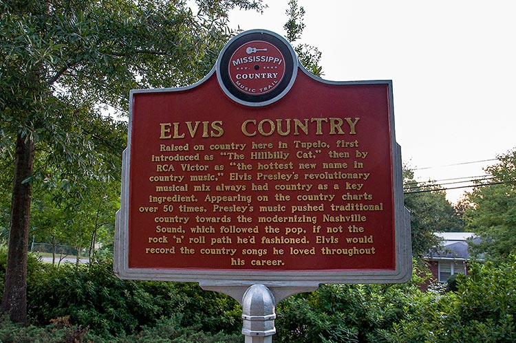 "Marker ""Elvis Country"" at Elvis Presley's birthplace, Tupelo, Mississippi"