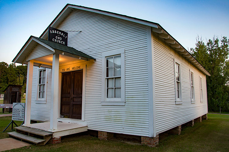 Assembly of God Church (and outhouse), Elvis Presley's birthplace, Tupelo, Ms