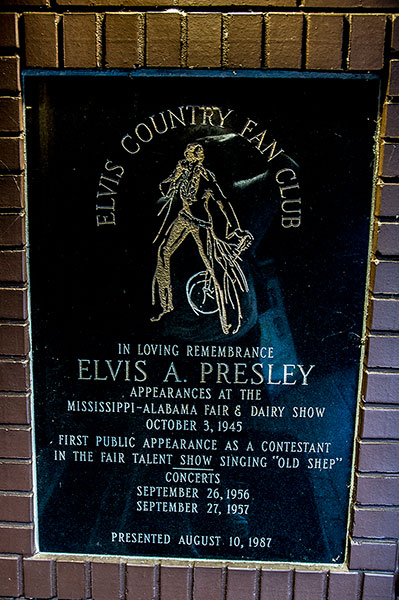 Elvis first public appearances plate at Elvis Presley's birthplace, Tupelo, Mississippi