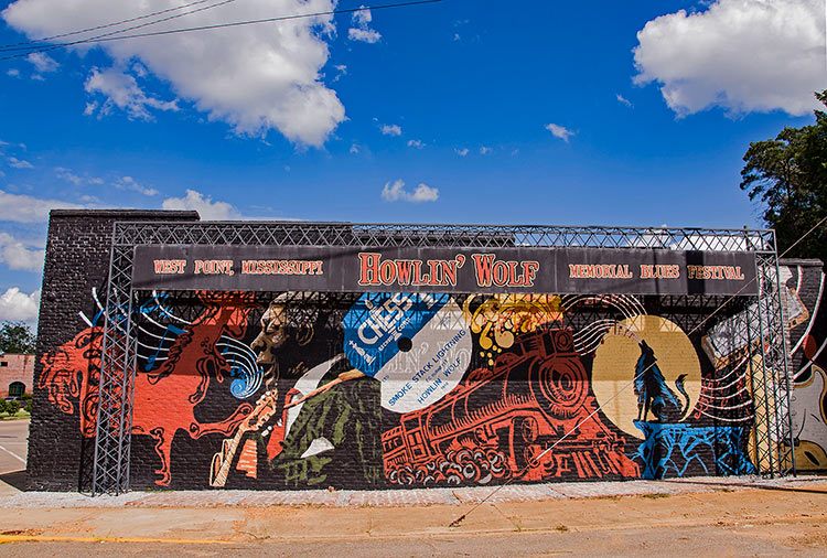 Howlin' Wolf mural, West Point, Mississippi
