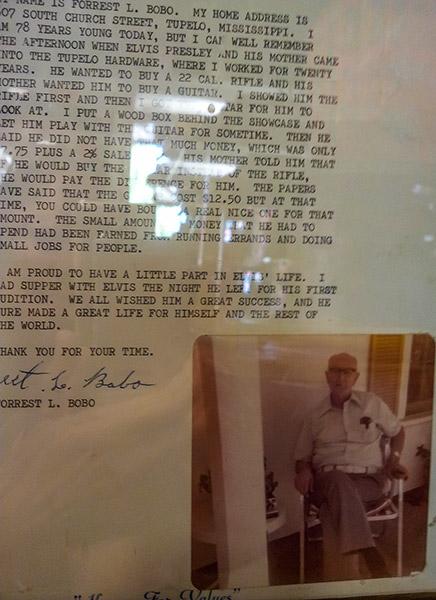 Forrest L. Bobo letter, Tupelo Hardware Co.