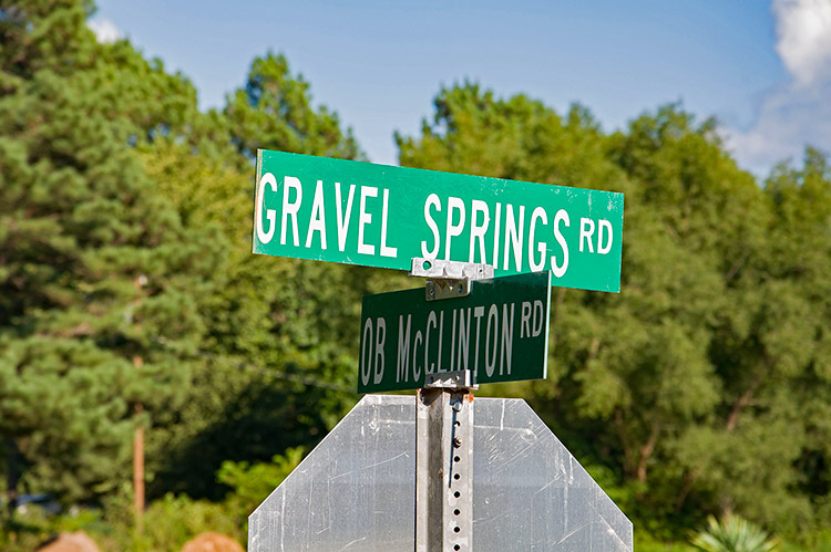 Gravel Springs road sign, Hills, Mississippi