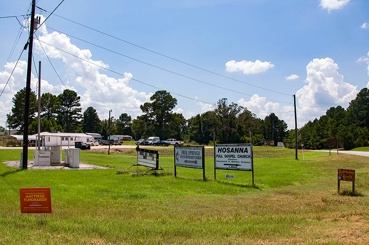 Church signs, Harmontown, Mississippi Hills