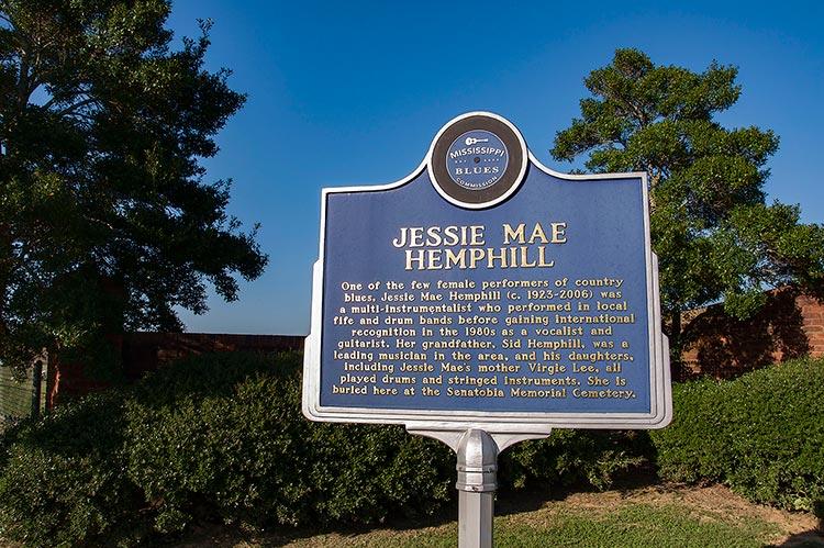 Jessie Mae Hemphill marker, Senatobia, Ms