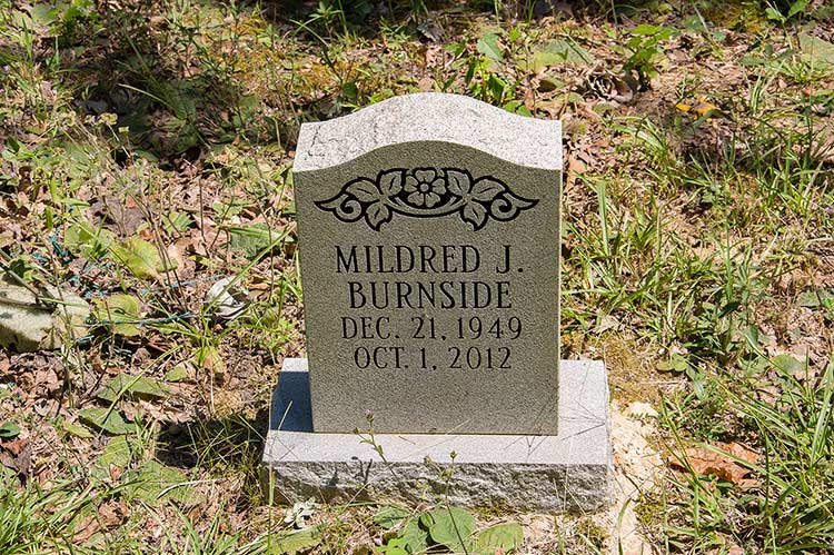 Grave of Mildred Jean Burnside, Harmontown, Mississippi