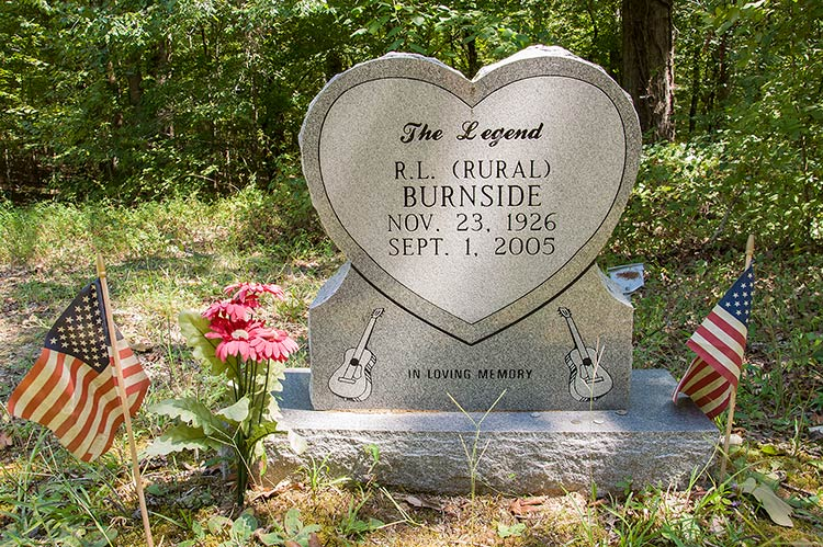 Grave of R.L. Burnside, Free Springs CME Church Cemetery, Harmontown, Mississippi